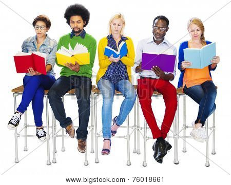 Group of Diverse Colorful People Reading Books