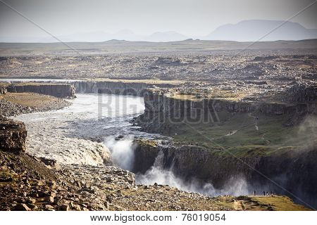 Dettifoss Waterfall In Iceland At Overcast Weather