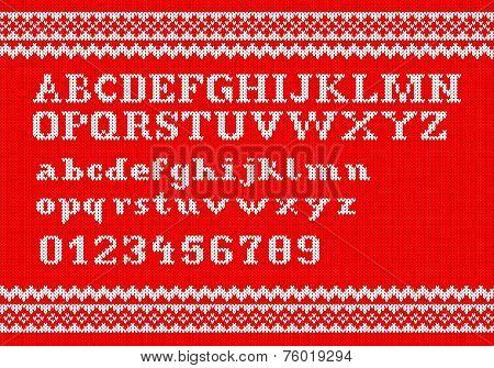 White Knitting Alphabet On Red Background