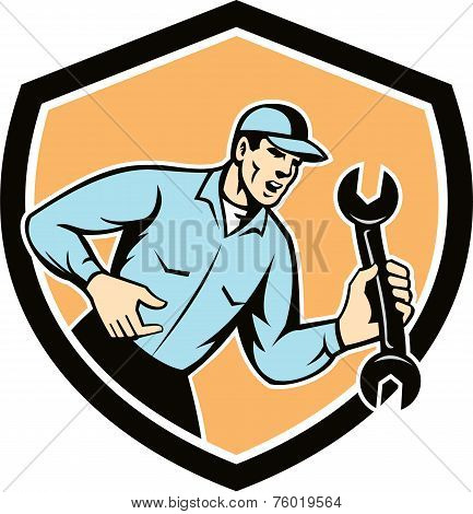 Mechanic Shouting Holding Spanner Wrench Shield Retro