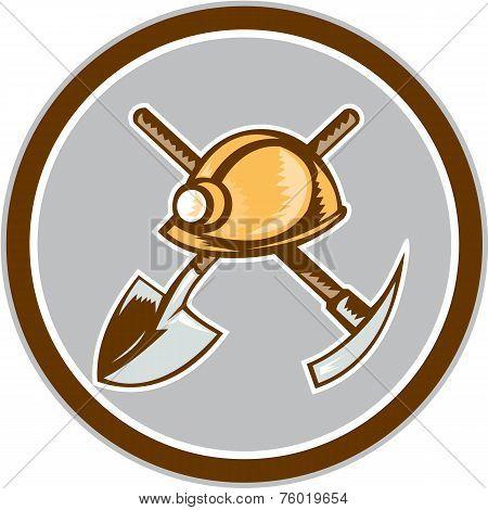 Miner Hardhat Spade Pick Axe Circle Retro