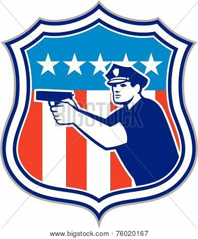 Policeman With Gun American Flag Shield Retro