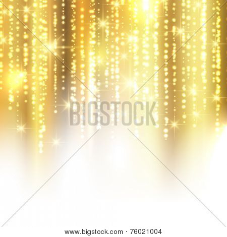 Golden Christmas background with sparkles and stars