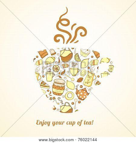 Mug with tea pattern isolated  background