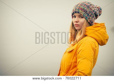 Young Woman wearing winter hat fashion clothing outdoor