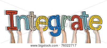 Group of Hands Holding Word Integrate