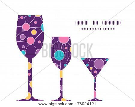 Vector molecular structure three wine glasses silhouettes pattern frame