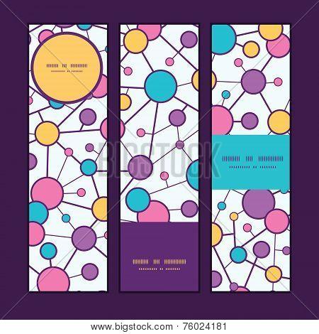 Vector molecular structure vertical banners set pattern background