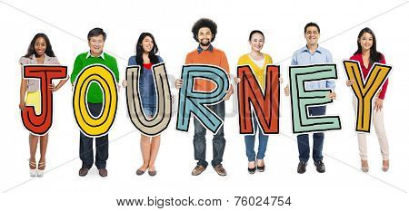 Group of Diverse People Holding Journey