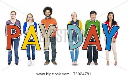 Group of People Standing Holding Payday Letter