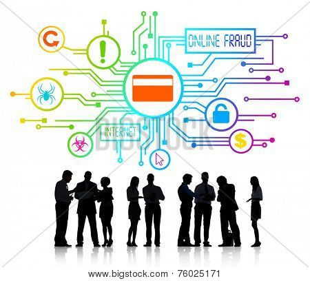Silhouette Group of Business People with Online Fraud Concept