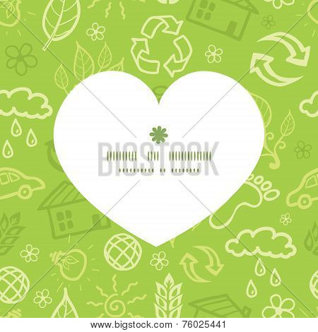 Vector environmental heart silhouette pattern frame