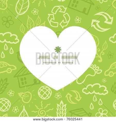 Vector environmental heart silhouette pattern frame