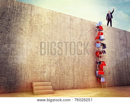 clever man try solution to climb the wall