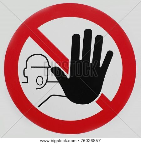 Stop symbol with prohibitive hand