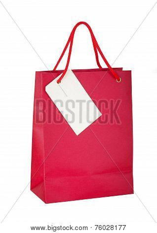 Red paper bag with tag