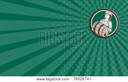 Business Card Female Bartender Carrying Keg Circle Retro