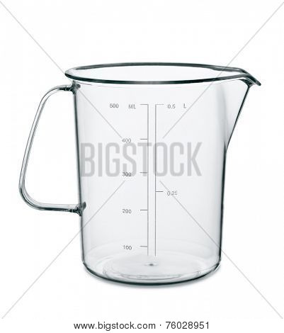 Empty kitchen measuring cup isolated on white