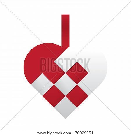 Vector Braided Christmas Heart - Red And White