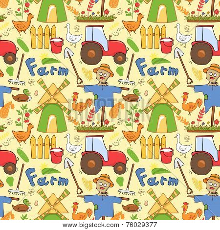 Vector seamless pattern farm elements in doodle style