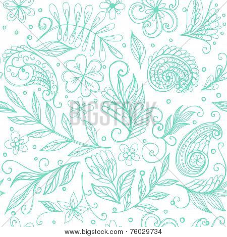 Seamless Floral Blue Doodle Ornament With Hand Drawn Plants
