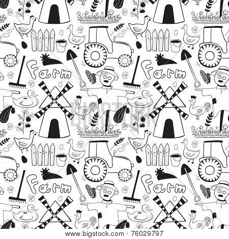 Black and whete vector seamless pattern farm elements in doodle style