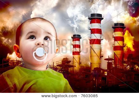 A Global Warming Picture With A Child Looking At The Sky. Landscape Of Industries With Fire And Toxi