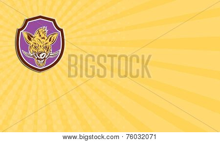 Business Card Wild Boar Razorback Head Shield Retro