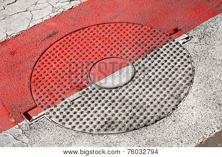 Closed Round Sewer Manhole With Stars Pattern