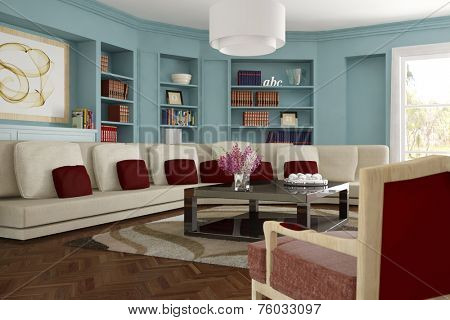 Interior living room with sofa and carpet and shelves with many books (3D Rendering)