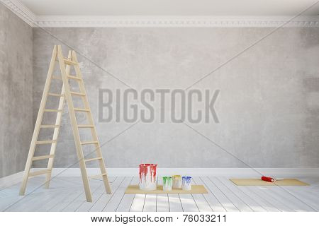 Renovation of a wall in empty old room with stucco (3D Rendering)