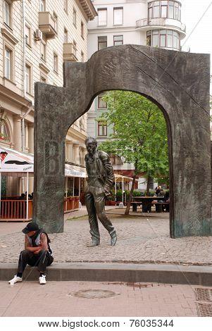 Monument Bulat Okudzhava On Arbat Street In Moscow