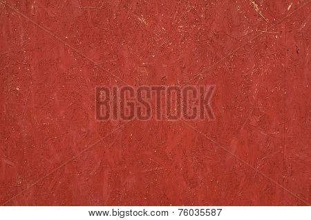 Texture Of Wall From Chipboard, Painted In Red