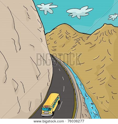 School Bus In Mountains