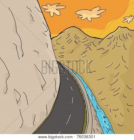 Road On Mountain Cliff