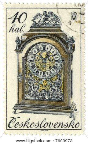 Czechoslovakia - Circa 1979: A Stamp Printed In Czechoslovakia Shows Image Of The Clock.