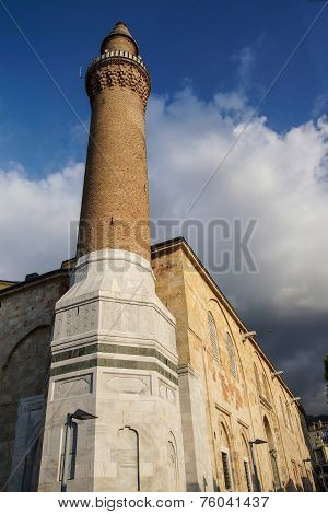 Brick Minaret Of The Ulu Cami