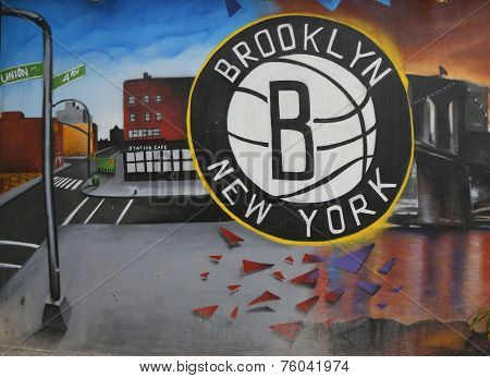 Brooklyn Nets Mural in Park Slope section of Brooklyn