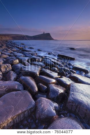 Rocky Dorset Coastline At Sunset