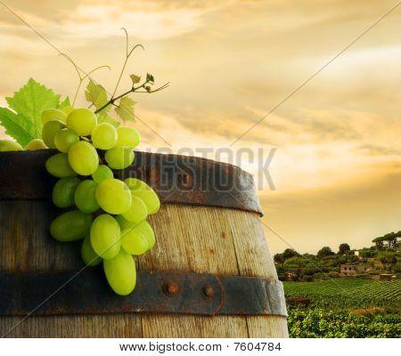 Wine barrel with grape