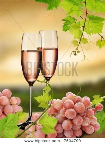 Pink champagne and grapevine