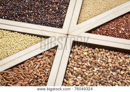 variety of gluten free grains (red and black quinoa, buckwheat, brown rive, amaranth and millet) in a wooden tray, focus on buckwheat and rice