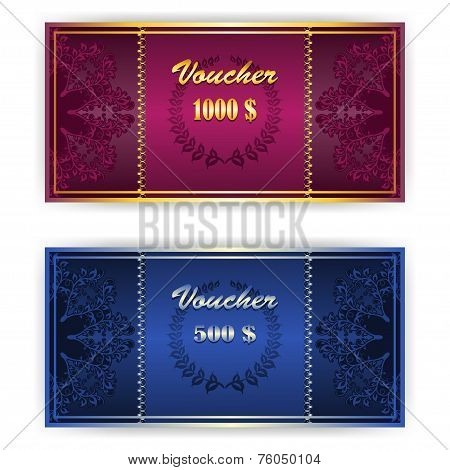 Voucher, Coupon Template With Border