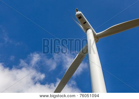 Close Up Of Wind Turbine Producing Alternative Energy In Wind Farm Thailand.