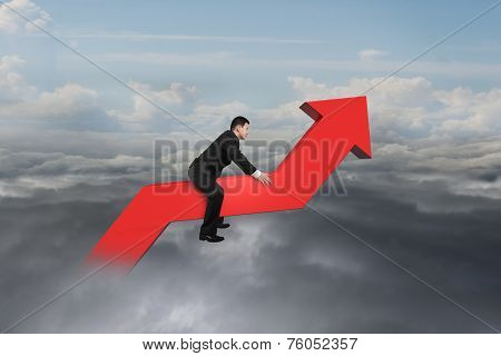 Businessman Driving 3D Red Trend Line In The Sky