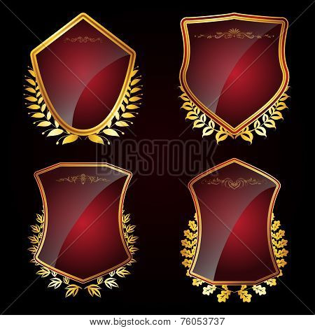 Set Of Shields With Laurel Wreaths