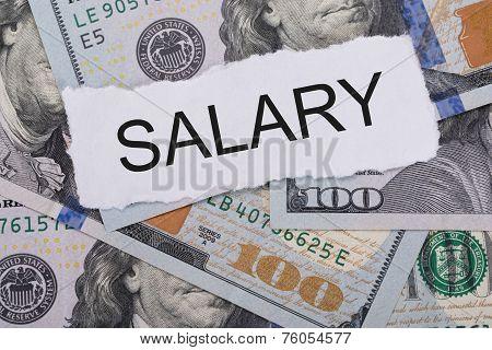 Salary Sign On Dollar Bills