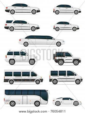 Set Of Cars For The Transportation Passengers Vector Illustration
