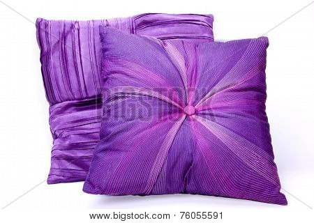 Two Mauve Scatter Cushions With Intricate Patterns