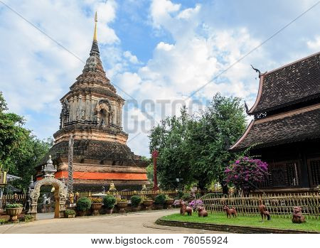 Ancient Wooden Temple In Chiang Mai, Thailand